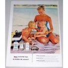1955 Johnson's Baby Oil Lotion Powder Color Print Ad