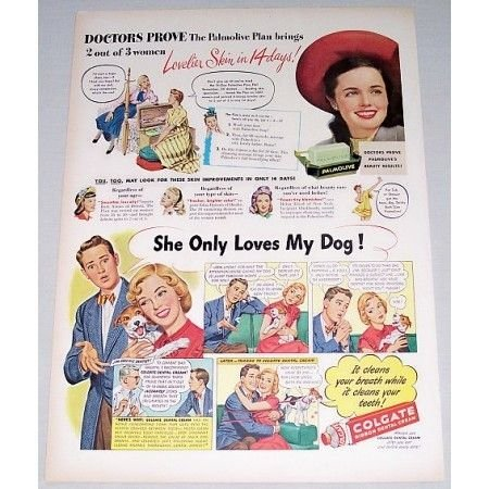 1948 Pamolive Soap and Colgate Dental Cream Color Print Art Ad