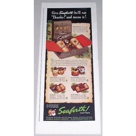 1942 Seaforth For Men Bath Accessories Color Print Ad