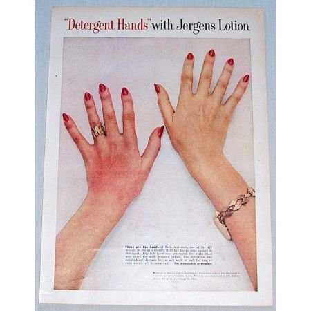 1954 Detergent Hands With Jergens Lotion Color Print Ad