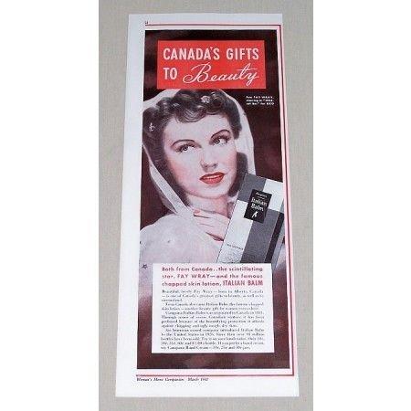 1941 Italian Balm Skin Lotion Color Print Ad Celebrity Fay Wray