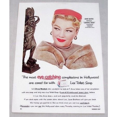 1954 Lux Soap Color Print Ad Celebrity Anne Baxter