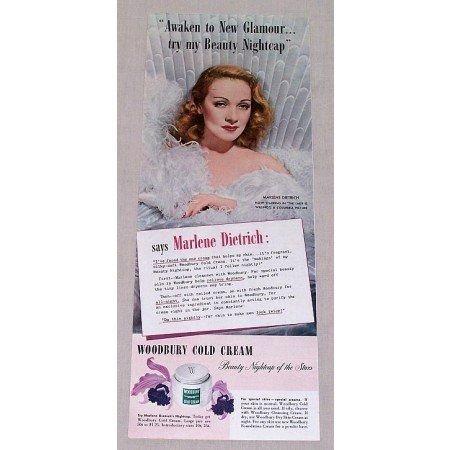 1942 Woodbury Cream Color Print Ad Celebrity Marlene Dietrich