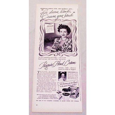 1948 Pacquins Hand Cream Vintage Print Ad Celebrity Joan Bennett