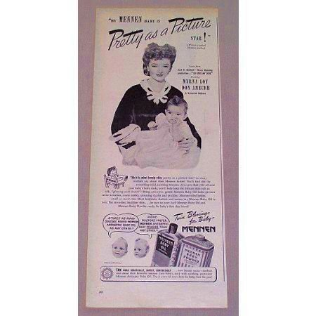 1946 Mennen Baby Oil Vintage Print Ad Celebrity Myrna Loy Don Ameche