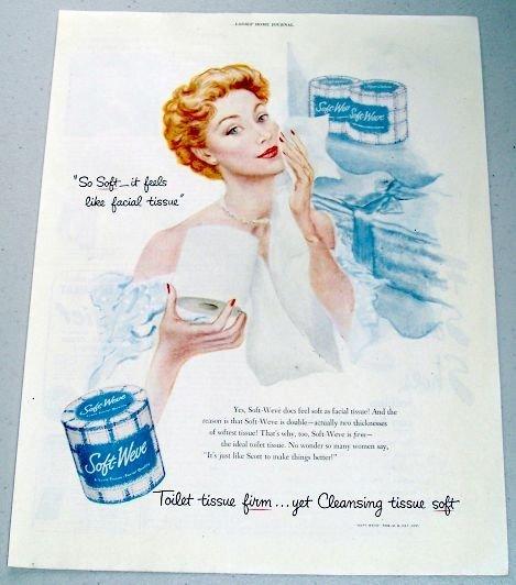 1950 Soft Weve Bath Tissue Color Print Art Ad