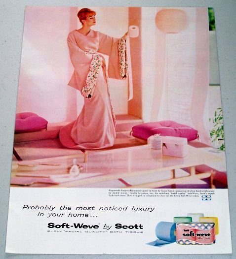 1958 Scot Soft-Weve Bath Tissue Color Print Ad