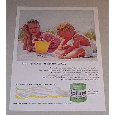 1957 ScotTissue Toilet Tissue Color Print Ad - Baby On Beach