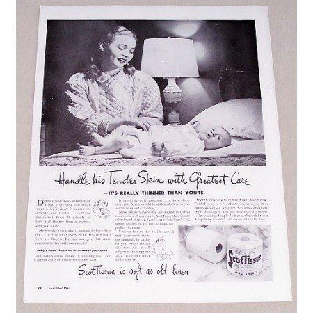 1947 ScotTissue Toilet Tissue Vintage Print Ad - Handle Tender Skin