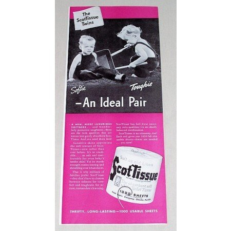 1942 ScotTissue Toilet Tissue Color Print Ad - An Ideal Pair