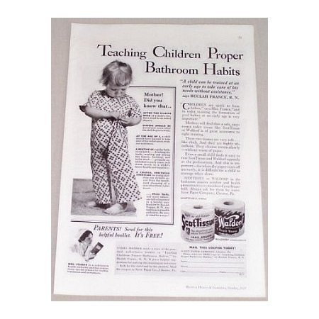 1935 ScotTissue Toilet Tissue Vintage Print Ad - Teaching