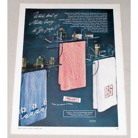1947 Martex Bath Towels Color Print Ad - Martex Luxury