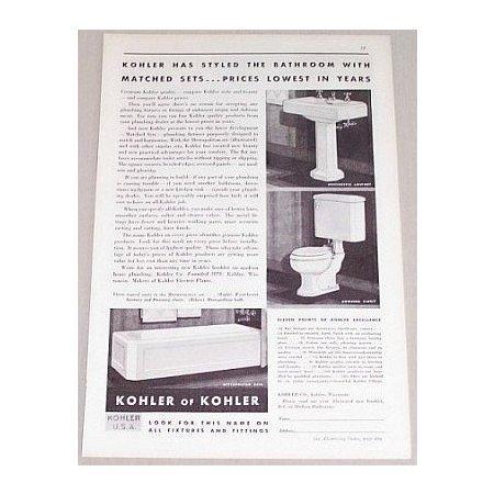 1932 Kohler Of Kohler Bathroom Fixtures Matched Sets Vintage Print Ad