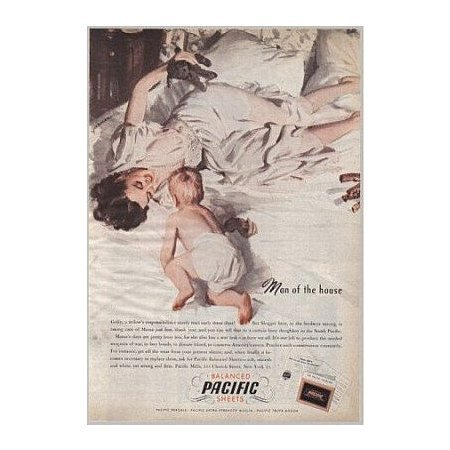 1945 Balanced Pacific Sheets Color Print Art Ad - Man Of The House