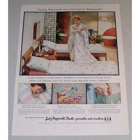 1958 Lady Pepperell Sheets Color Print Ad - Young Marrieds