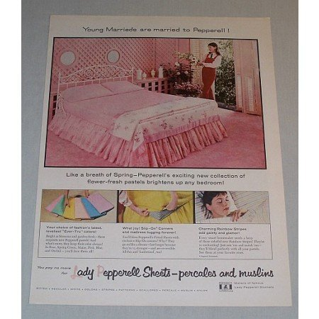 1957 Lady Pepperell Sheets Color Print Ad - Young Marrieds
