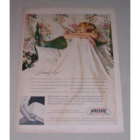 1949 Balanced Pacific Sheets Color Art Vintage Print Ad - Hevenly Daze!
