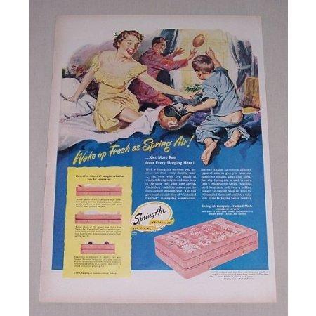 1949 Spring Air Mattresses Color Art Vintage Print Ad - Wake Up Fresh