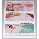 1957 Cannon Percales Bedding Sheets Color Print Ad - Combspun