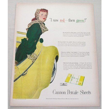 1948 Cannon Percale Sheets Color Print Art Ad - I Saw Red Then Green!