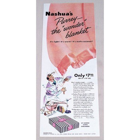 1949 Nashua Purrey Blanket Color Print Ad - Wonder Blanket