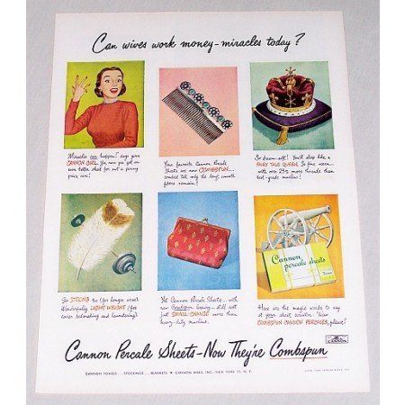 1949 Cannon Percale Sheets Color Print Ad - Miracles Today?