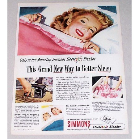 1946 Simmons Electronic Control Blanket Color Print Ad