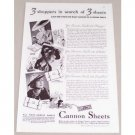 1935 Cannon Sheets Vintage Print Ad - 3 Shoppers In Search Of 3 Sheets