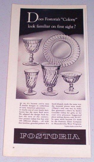 1954 Fostoria Colony Line Glassware Vintage Print Ad