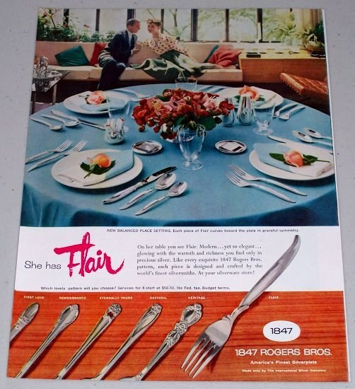 1955 Color Print Ad for 1847 Rogers Bros. Silverplate Flatware