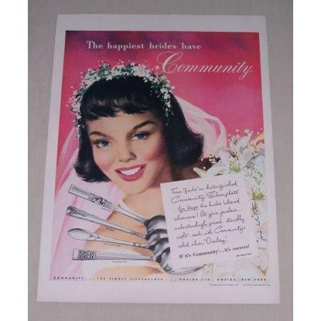 1949 Oneida Community Silverplate Flatware Color Print Ad