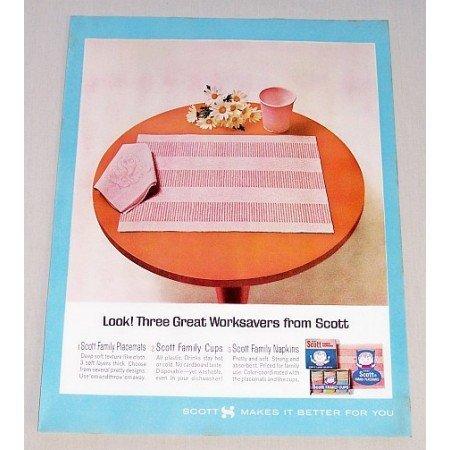 1964 Scott Table Placemats Napkins Color Print Ad