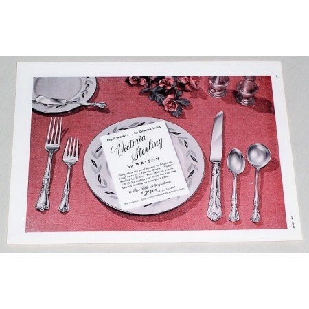 1953 Victoria Sterling by Watson Setting Flatware Color Print Ad