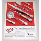 1950 Towle Sterling Flatware Color Print Ad - The Finest