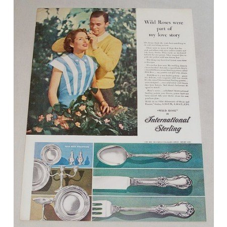 1948 International Sterling Wild Rose Flatware Color Print Ad