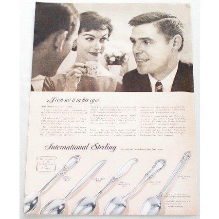 1956 International Sterling Flatware Color Print Ad