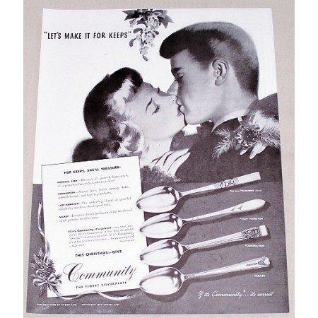 1947 Oneida Community Silverplate Flatware Vintage Print Ad