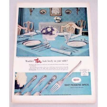 1956 Color Print Ad for 1847 Rogers Bros. FLAIR Silverplate Flatware