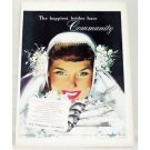 1948 Oneida Community Silverplate Flatware Wedding Art Color Print Ad