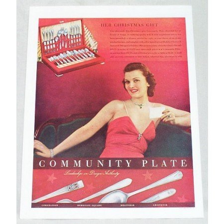 1937 Community Plate Silverware Color Print Ad - Her Christmas Gift