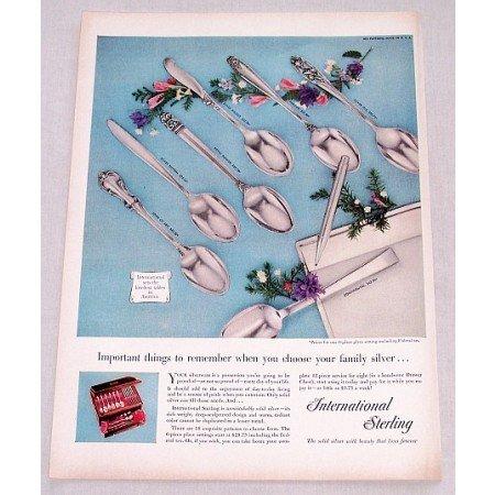 1956 International Sterling Silver Flatware Color Print Ad