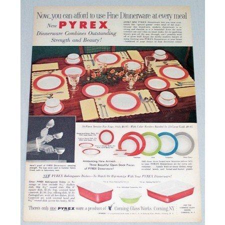 1954 Pyrex Fine Dinnerware Color Print Ad - Strength Beauty