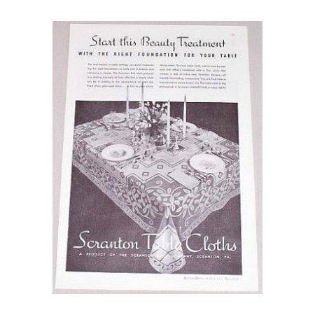 1934 Scranton Table Cloths Vintage Print Ad - Beauty Treatment