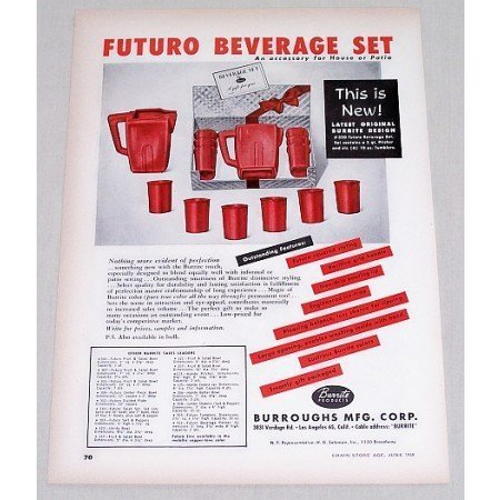 1950 Burrite Futuro 7pc Beverage Gift Set Color Print Ad