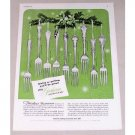 1951 Gorham Sterling Flatware Color Print Ad - Timeless Treasures