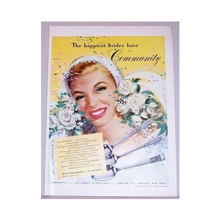 1948 Community Silverplate Flatware Color Print Wedding Art Ad - Happiest Bride