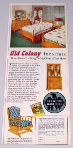 1949 Old Colony Heywood-Wakefield Bedroom Furniture Color Print Ad