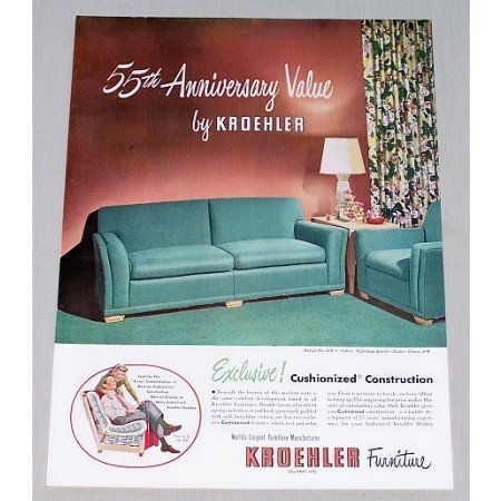 1948 Kroehler Living Room Furniture Color Print Ad