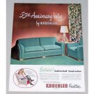1948 Kroehler Living Room Furniture Color Print Ad
