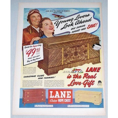 1948 Lane Cedar Hope Chest Color Print Ad Young Lovers